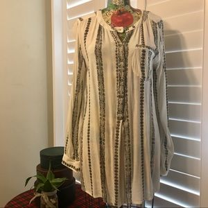 Free People Shibori Magic Tunic Pullover Blouse